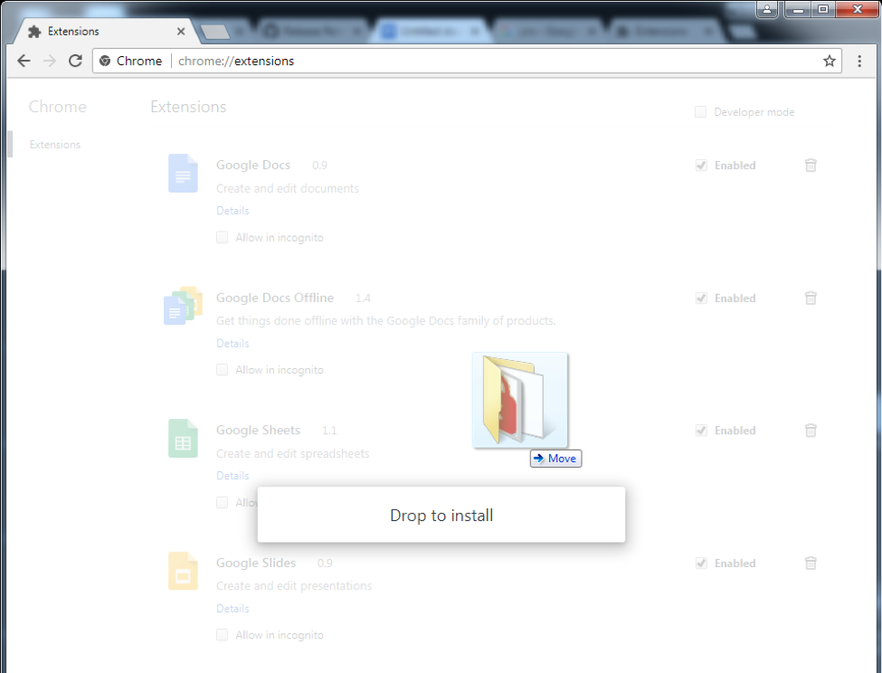 download and manually extensions chrome